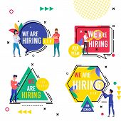 Set Bright Inscription We Are Hiring Cartoon Flat. In Center Hexagon Is Circle, Square And Triangle  poster