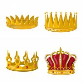 Vector Design Of Monarchy And Gold Symbol. Set Of Monarchy And Heraldic Vector Icon For Stock. poster