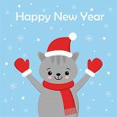 Christmas Cat Kitten Cartoon Character. A Cute Kitten Standing On Blue Background. Flat Design Vecto poster