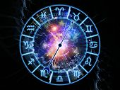 picture of occult  - Backdrop on the subject of astrology child birth fate destiny future prophecy horoscope and occult beliefs composed of Zodiac symbols gears lights and abstract design elements - JPG
