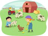 foto of animal husbandry  - Illustration of Kids Wearing Farmhand Outfits Tending to Animals in a Ranch - JPG