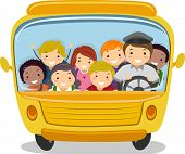 image of bus driver  - Illustration of School Kids Riding a School Bus - JPG