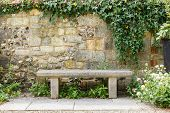picture of english ivy  - Bench in a formal garden with an old stone wall - JPG