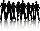 stock photo of person silhouette  - Silhouette of a crowd of people in casual clothing - JPG
