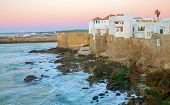 stock photo of asilah  - Sunset in Asilah and atlantic ocean in Morocco - JPG