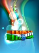 picture of asoka  - Indian flag color creative wave background with 3D Asoka wheel and text India - JPG
