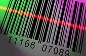 picture of barcode  - Barcode being scanned on a colorful lighted backgroun - JPG