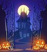 stock photo of moon silhouette  - Spooky old ghost house - JPG