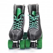 stock photo of skate  - a pair of roller skates on a white background - JPG