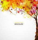 stock photo of composition  - autumn abstract tree forming by blots - JPG