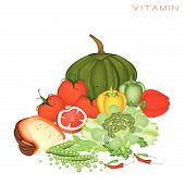 stock photo of main idea  - Various Kind of Vitamin Foods to Improve Nutrient Intake and Health Benefits Vitamin Is One of The Main Types of Nutrients - JPG