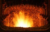 foto of blast-furnace  - Fire in home furnace with a fire - JPG