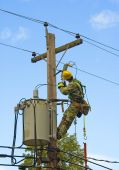 foto of lineman  - lineman performing maintenance on power line with transformer - JPG