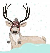 stock photo of scandinavian  - Cute deer with fair isle hat winter background - JPG