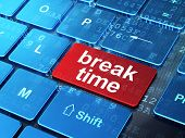 Timeline concept: Break Time on computer keyboard background