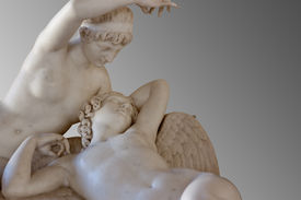 image of ero  - Marble statues of Cupid and Psyche on gray background with clipping path - JPG