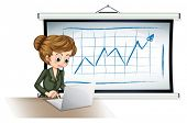 Illustration of a businesswoman using the laptop in front of the board on a white background