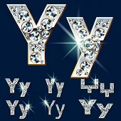 Ultimate vector alphabet of diamonds and platinum ingot. Six options. Letter y