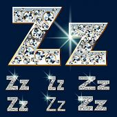 Ultimate vector alphabet of diamonds and platinum ingot. Six options. Letter z