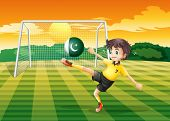Illustration of an athlete kicking the ball with the flag of Pakistan