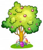 Illustration of a bunny and eggs under the tree on a white background