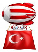 Illustration of the flag of Turkey attached to the floating balloon on a white background