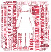 Stop violence against women in word collage