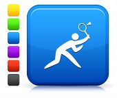 Badminton Icon on Square Internet Button Collection