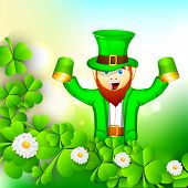 Happy St. Patrick's Day celebrations concept with young Happy leprechauns holding beer mugs on shamr