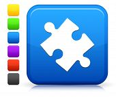 Puzzle Piece Icon on Square Internet Button Collection