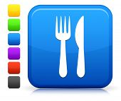 Utensil Icon on Square Internet Button Collection