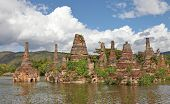 Ancient flooded pagodas in ruins near Samkar village on Inle lake, Shan state, Myanmar
