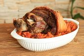 Baked Pork Shank With Sauerkraut