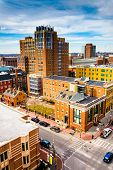 stock photo of maryland  - View of buildings at the University of Maryland from a parking garage in Baltimore Maryland - JPG