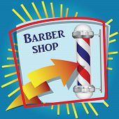 foto of barbershop  - Cool sticker for barbershop with symbolic red blue cylinder - JPG