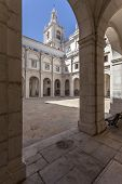 Lisbon, Portugal - September 15, 2013: Cloister of Sao Vicente de Fora Monastery in white limestone.