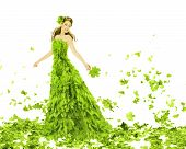 foto of white gown  - Fantasy beauty fashion woman in seasons spring leaves dress - JPG