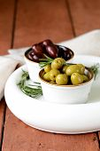 stock photo of kalamata olives  - marinated green and black olives  - JPG