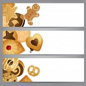 3 horizontal banners with cookies