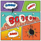 stock photo of chat  - Comic speech bubbles and comic strip background vector illustration - JPG