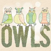 Cute cartoon owls in vector with text made of summer leafs. Childish card in green colors