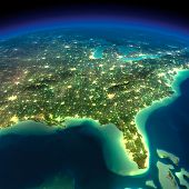 stock photo of gulf mexico  - Highly detailed Earth illuminated by moonlight - JPG