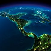 pic of gulf mexico  - Highly detailed Earth illuminated by moonlight - JPG