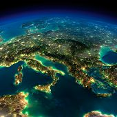 pic of continent  - Highly detailed Earth illuminated by moonlight - JPG