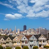 Painted Ladies San Francisco Victorian houses in Alamo Square at California USA
