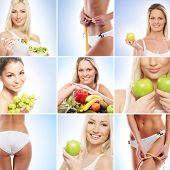 Vegetarian food, nutrition, fruits and healthy eating collage