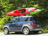 Honda Element minivan loaded with kayaks in Acadia National Park