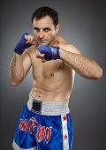 pic of muay thai  - Kickbox or muay thai fighter in guard stance - JPG