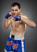 image of muay thai  - Kickbox or muay thai fighter in guard stance - JPG