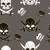 foto of skull crossbones flag  - Vector Seamless pattern with skulls and pirate sword - JPG